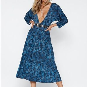 Nasty Gal blue animal print dress